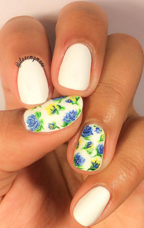 Hand painted floral nail art! nail art by Gabrielle