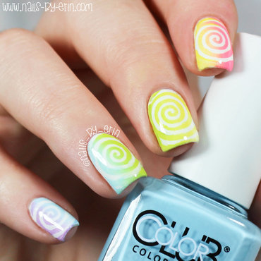 Rainbow Swirl Nails nail art by Erin