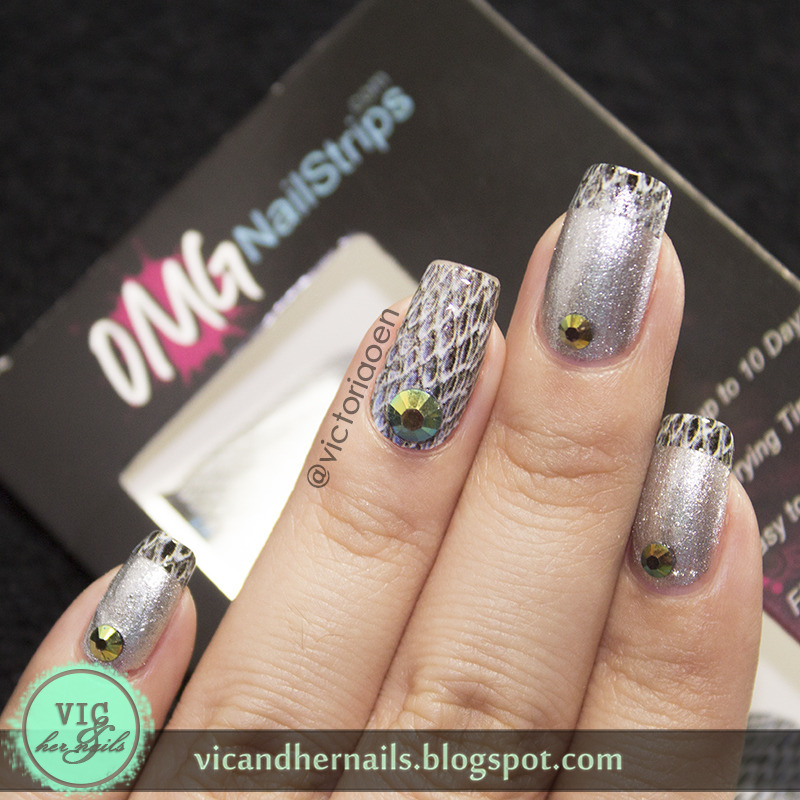 Snake Skin Nail Art and French Manicure nail art by OMGnailstrips ...