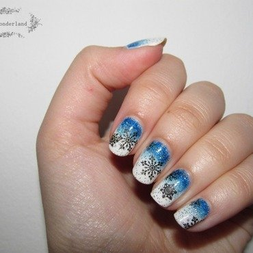 Frozen Flakes nail art by Lora