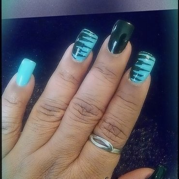 black n mint nails nail art by peecheytee