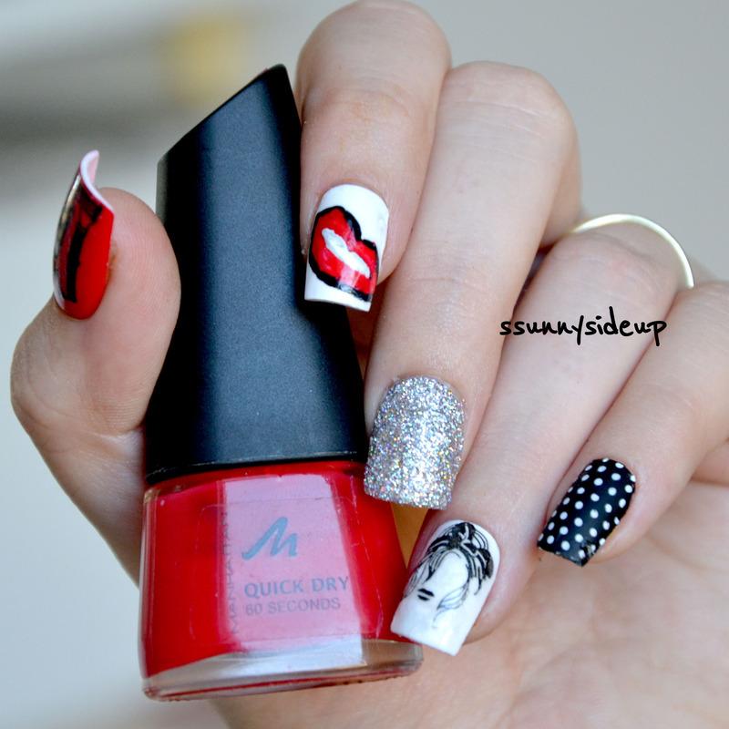 Rockabilly nails nail art by ssunnysideup (Sabrina)