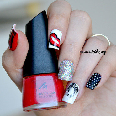 Rockabilly nails nail art by ssunnysideup (Sabrina)