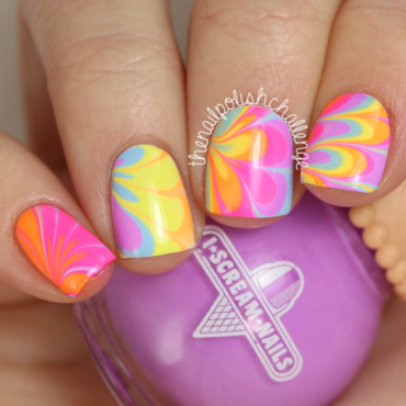 Neon Rainbow Watermarble nail art by Kelli Dobrin