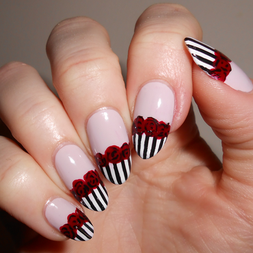 Stripes & Roses nail art by MyMintNails