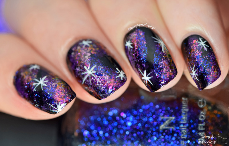 Multi-chrome flakie galaxy nail art by simplynailogical