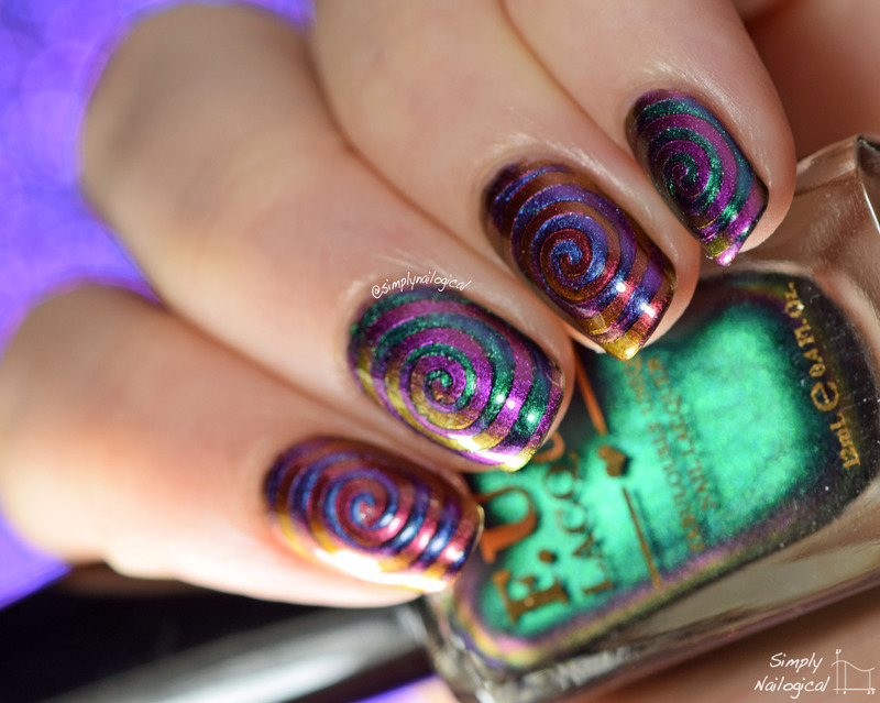Multi-chrome trippy cyclones nail art by simplynailogical
