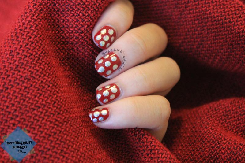 Red and Silver polka dots nail art by Karise Tan - Nailpolis: Museum ...