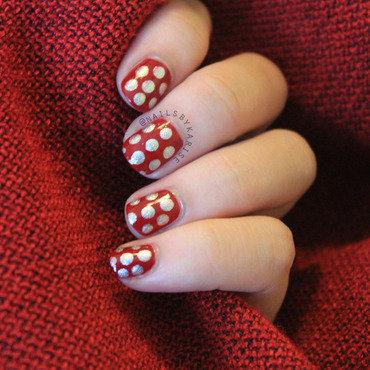 Maroon silver polka dots nail art 2 thumb370f