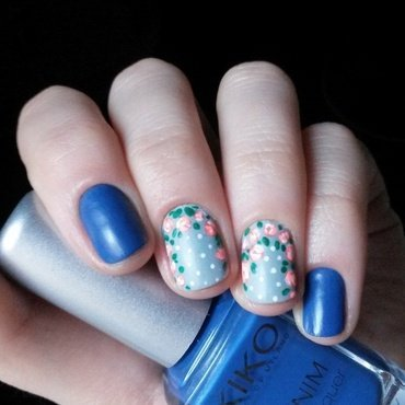 matte blue and vintage roses accent nail art by marina