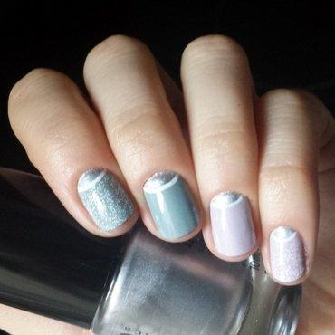 silver+white halfmoons nail art by marina