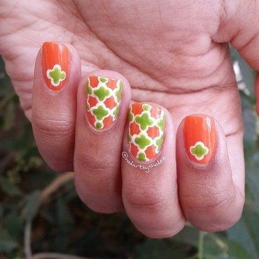 Tricolor quatrefoil nails! nail art by Shailee