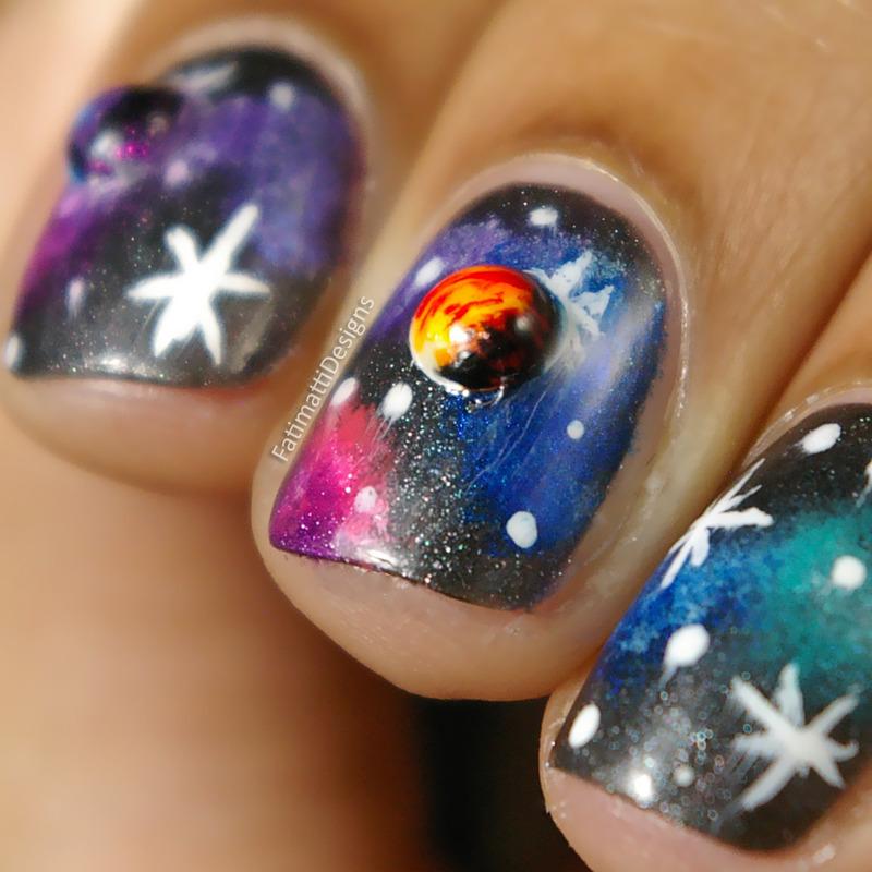 Close Up 3D Galaxy nail art by Fatimah