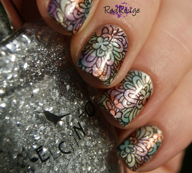 Cosmic Flower Power nail art by RedRouge