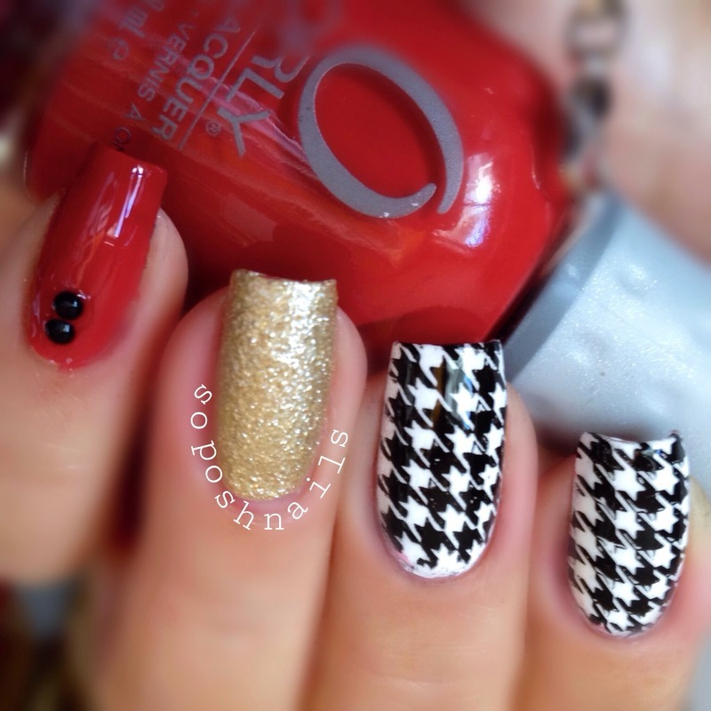 Houndstooth Nails nail art by Debbie