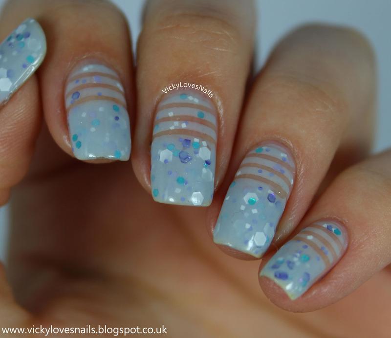 Negative Space Stripes nail art by Vicky Standage