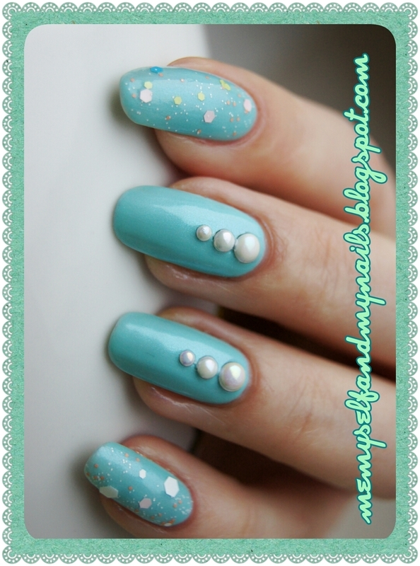 Pearls on the lagoon nail art by ELIZA OK-W