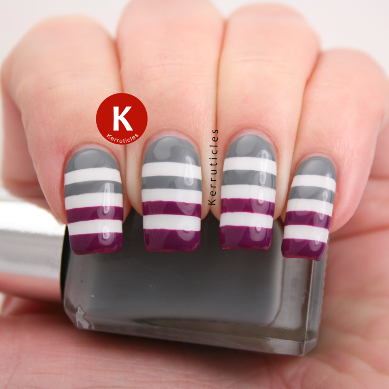 Grey, purple and white stripes nail art by Claire Kerr