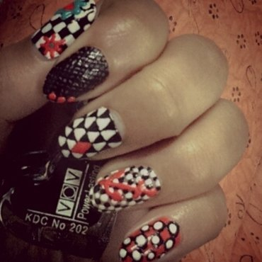 black and white with red  nail art by Rebecca