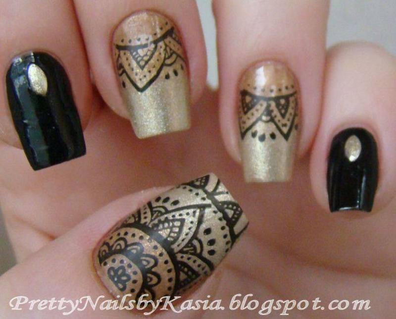 Black Gold Nails Nail Art By Pretty Nails By Kasia Nailpolis