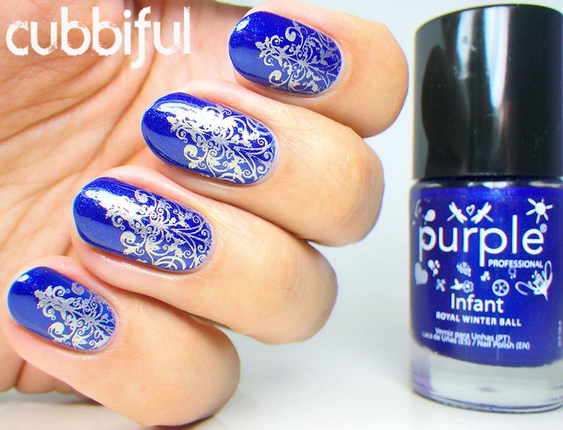 Gold Stamping Over Royal Blue Nails Nail Art By Cubbiful Nailpolis