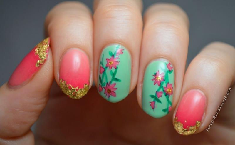 Oriental vibe nail art by Furious Filer