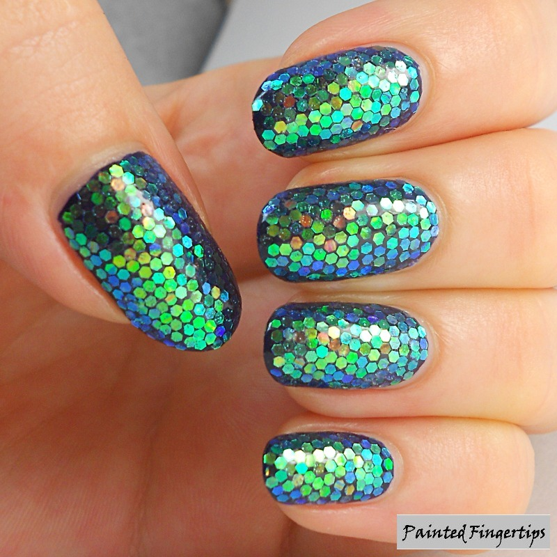 Mermaid glitter placement nail art by Kerry_Fingertips