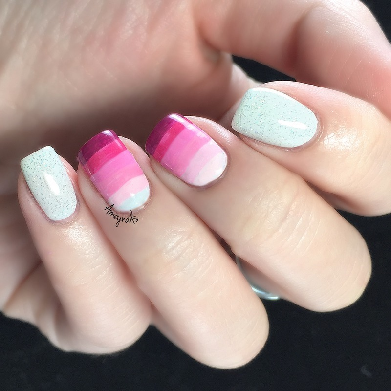 Pink gradient stripes nail art by Amey