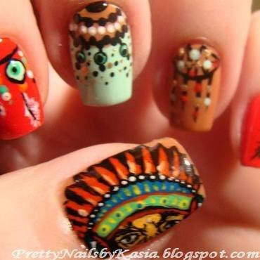 Indian Nails - all hand painted :) nail art by Pretty Nails by Kasia