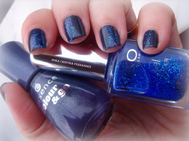 Stuck on blue nail art by Dora Cristina Fernandes