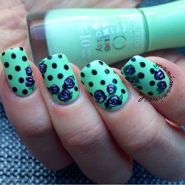 Polka dots and roses nail art by manimaninails