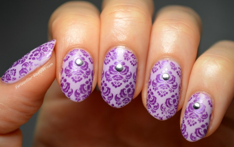 Baroque wallpaper nail art by Furious Filer