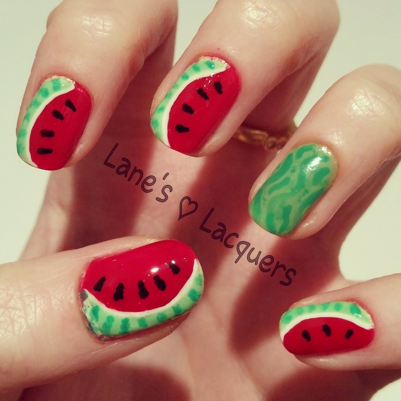 Watermelon Manicure nail art by Rebecca