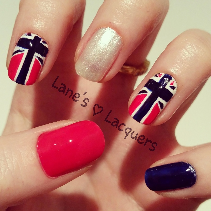 Reverse Union Jack nail art by Rebecca