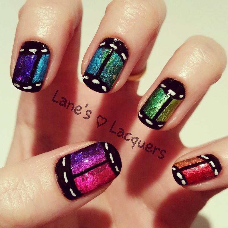 Rainbow Foil Film Roll nail art by Rebecca