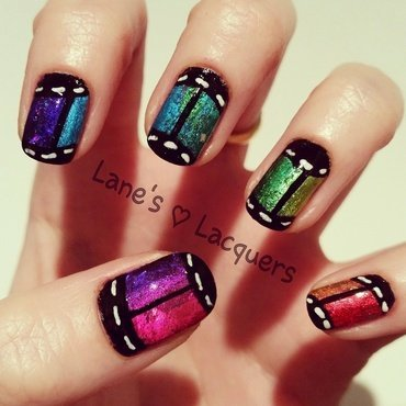 Rainbow foil film roll freehand nail art thumb370f