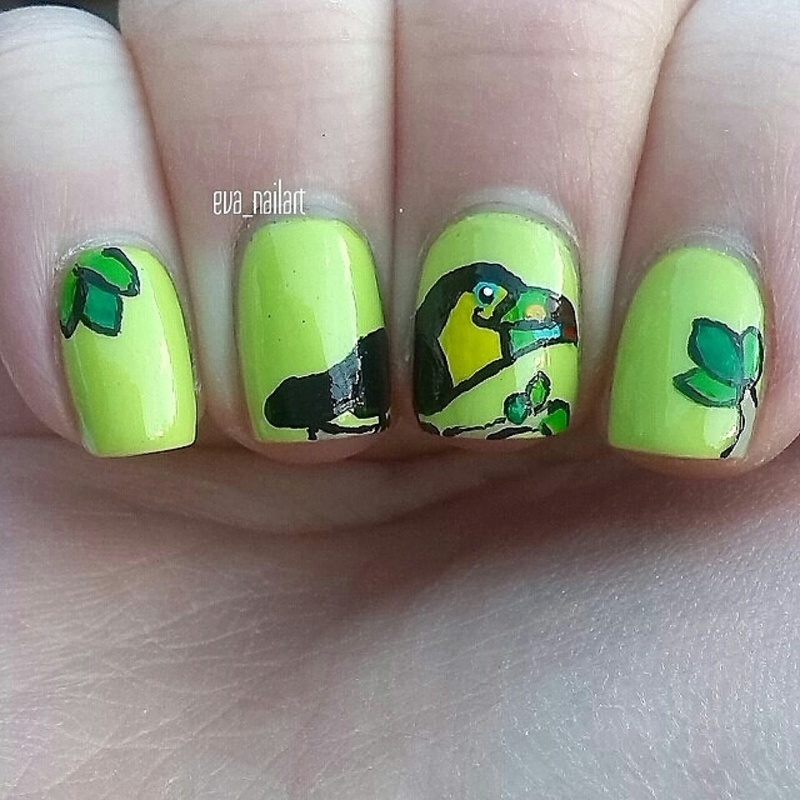 Neon Toucan mani nail art by eva_nailart