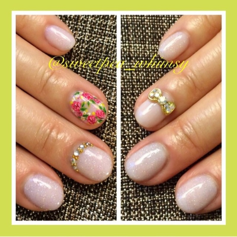 Glittered Pink Nude & Floral (A different view) nail art by SweetPea_Whimsy