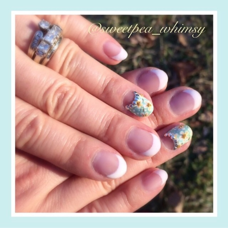 Classic French Manicure & Aqua Floral Accent nail art by ...