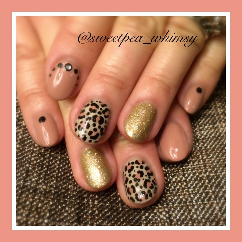 Leopard & Mauve with Gold nail art by SweetPea_Whimsy