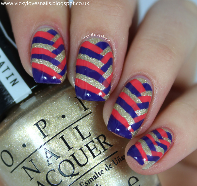 Pink, Gold and Purple Fishbraid nail art by Vicky Standage