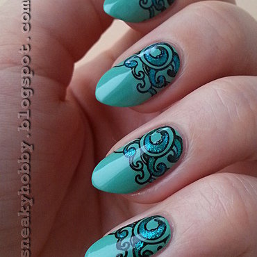 Sea Waves nail art by Mgielka M