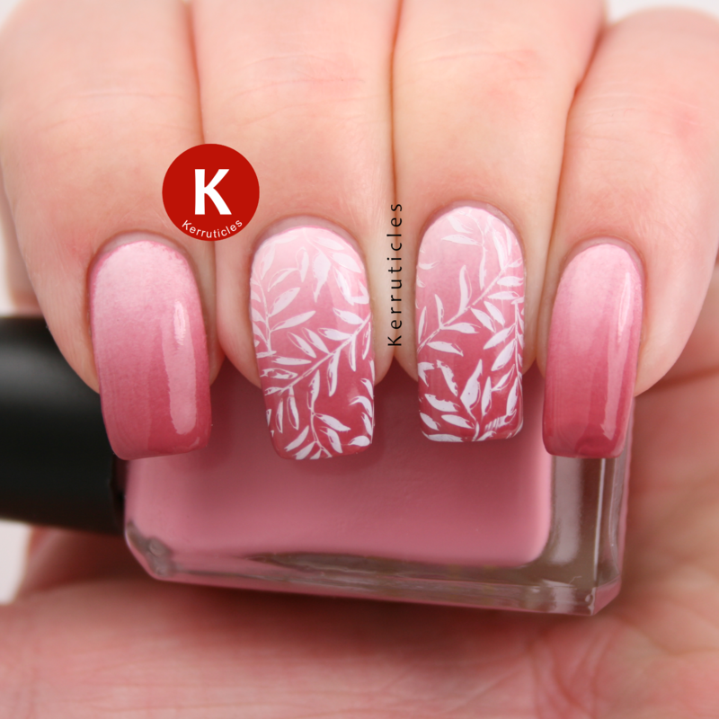 Pink gradient with stamping nail art by Claire Kerr