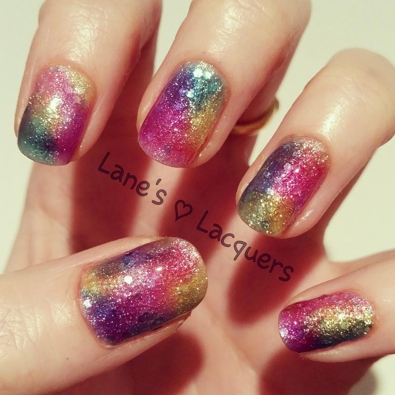 Tinted Glitterbomb nail art by Rebecca