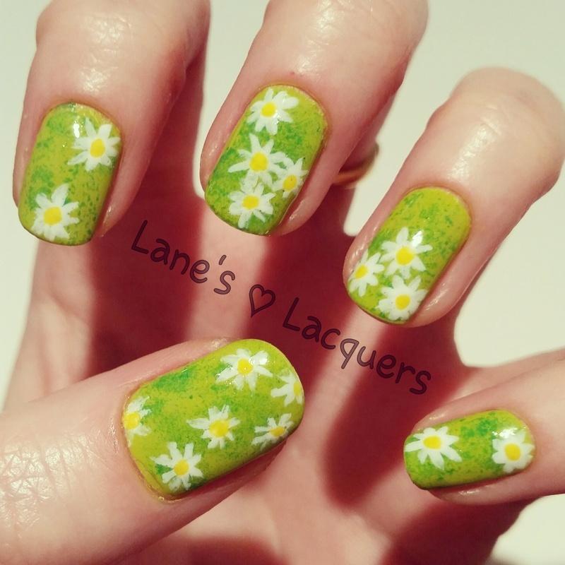Spring Daisies nail art by Rebecca
