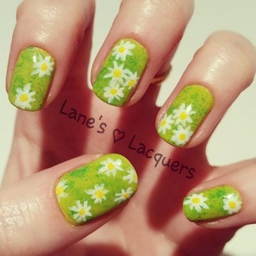 Sponged green grass daisies nail art thumb370f