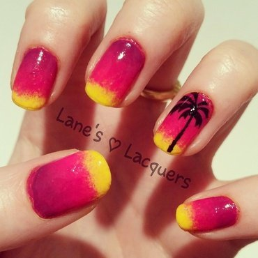 Barry m beach sunset palm tree ombre nail art thumb370f