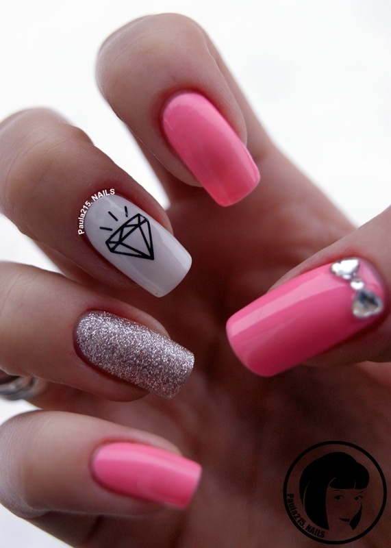 Shine bright like a diamond :) nail art by Paula215. NAILS