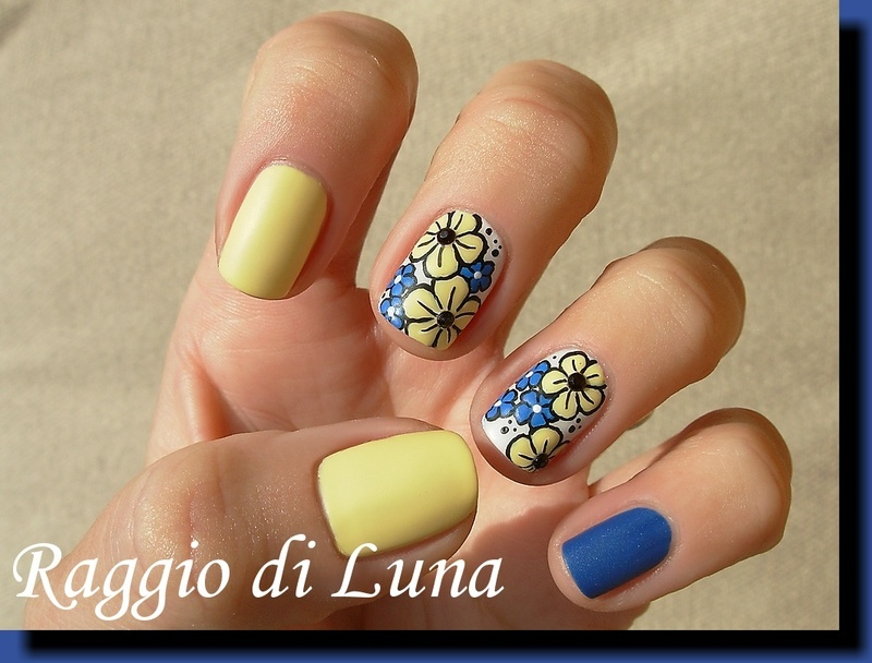 Yellow and blue flowers skittlette nail art by Tanja