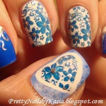 Blue & White Naisl nail art by Pretty Nails by Kasia